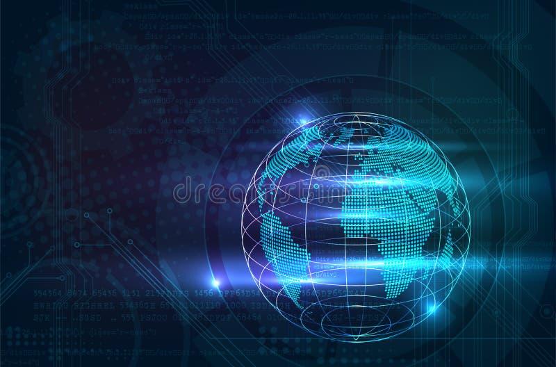 与发光的glo的抽象数字式技术或计算机背景 库存例证