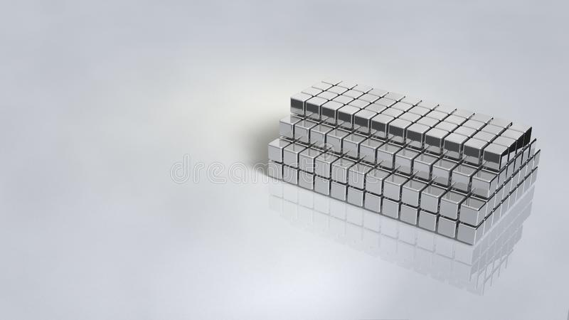 与发光银的镜子色泽的陈列立场 与被堆积的块的结构 库存例证