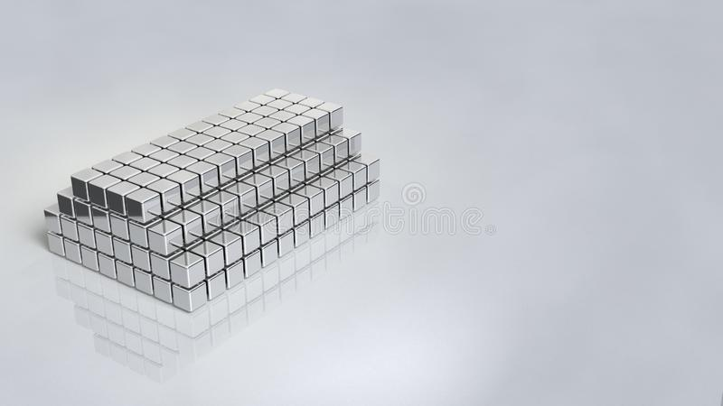与发光银的镜子色泽的陈列立场 库存例证