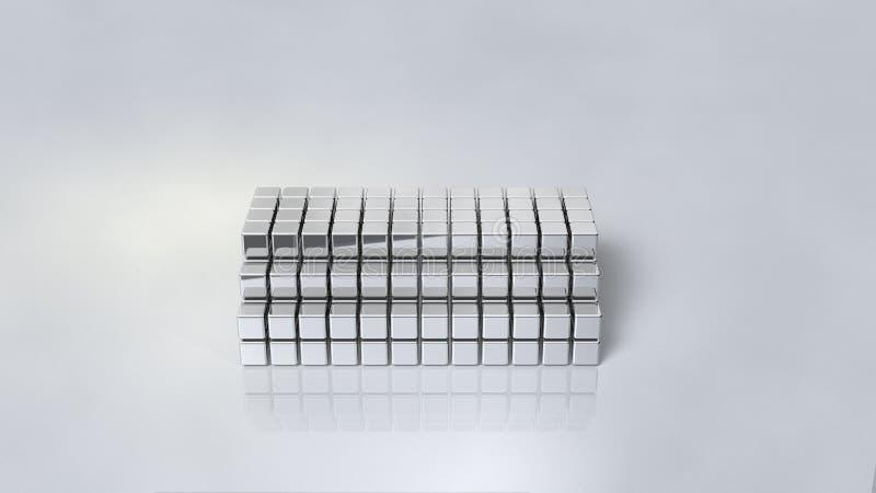 与发光银的镜子色泽的陈列立场 向量例证
