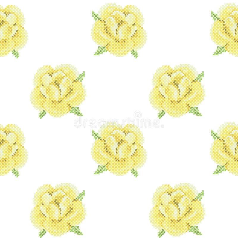 与发怒针黄色玫瑰的无缝的样式 向量例证