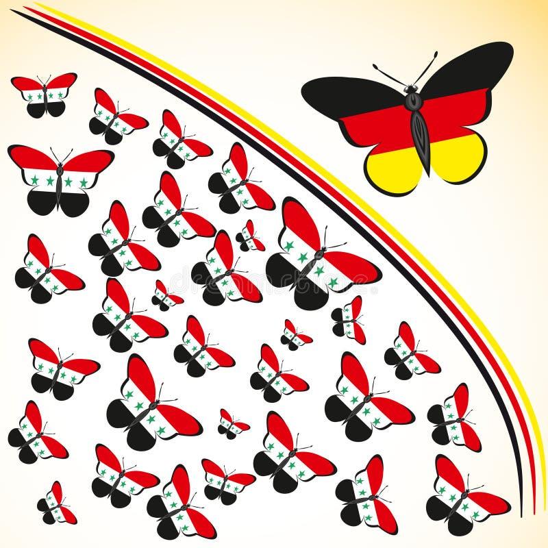 与叙利亚和德国的旗子的蝴蝶 皇族释放例证