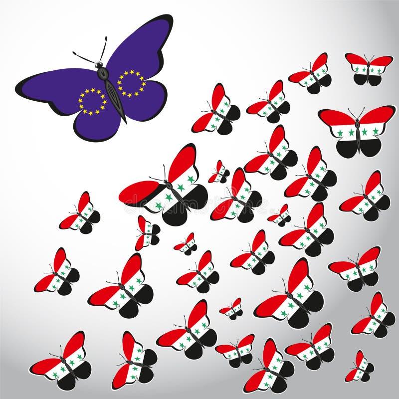与叙利亚和欧盟旗子的蝴蝶  向量例证