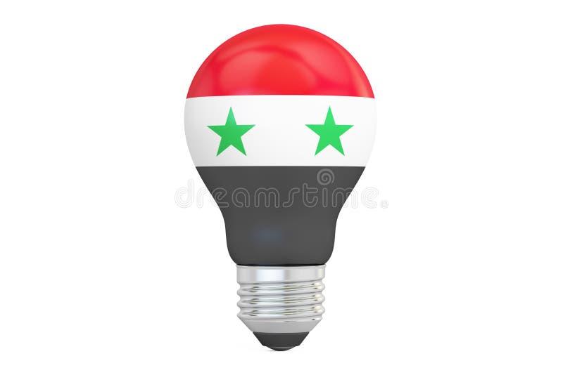 与叙利亚旗子, 3D的电灯泡翻译 库存例证