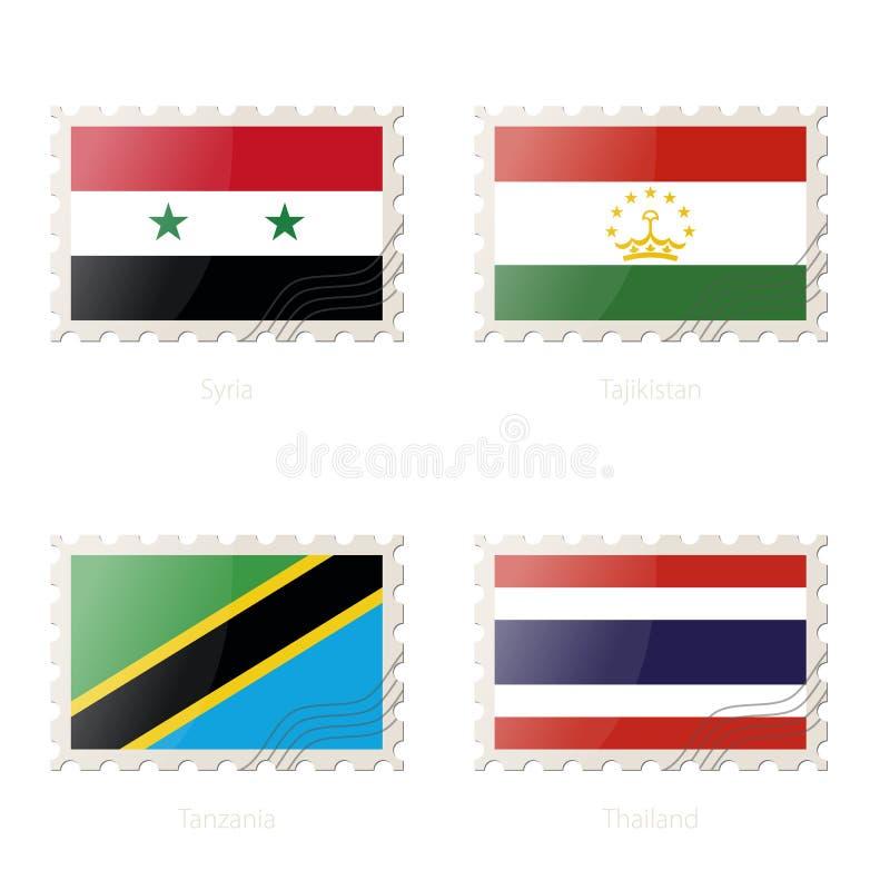 与叙利亚的图象的邮票,塔吉克斯坦,坦桑尼亚,泰国旗子 皇族释放例证