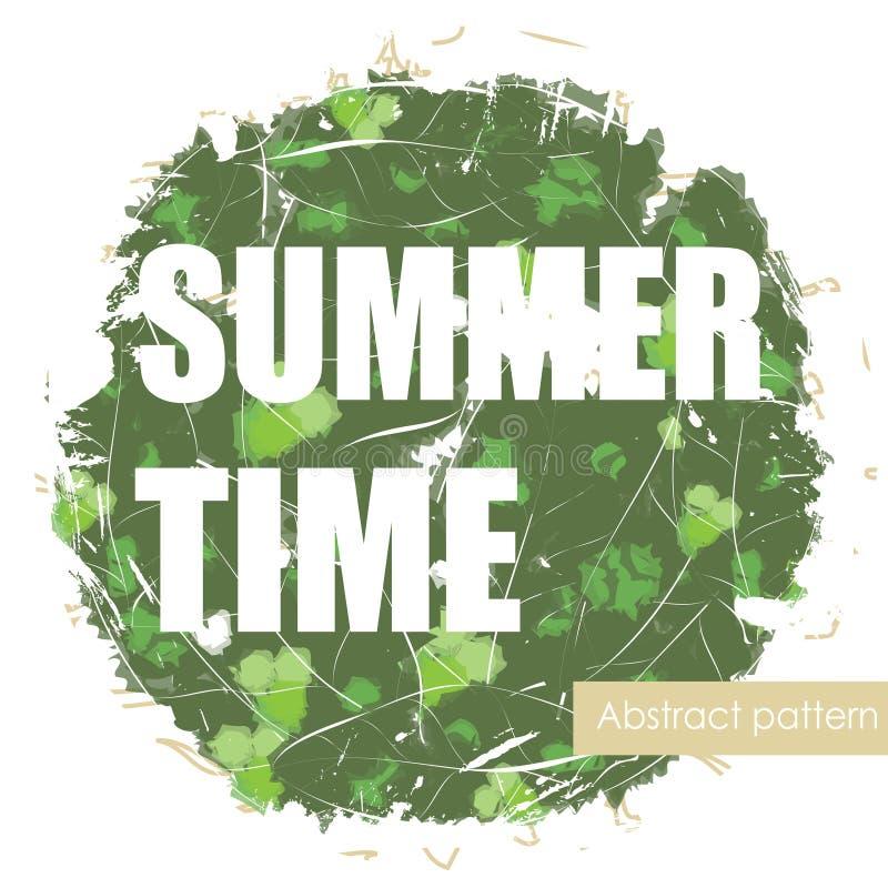 与口号的明亮的热带异乎寻常的夏天印刷品 库存例证