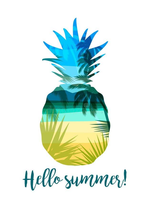与口号的热带海滩夏天印刷品T恤杉的, 库存例证