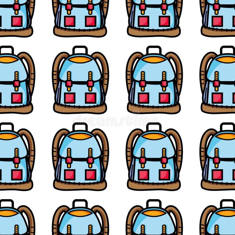 与口袋和关闭设计的背包对象 库存例证