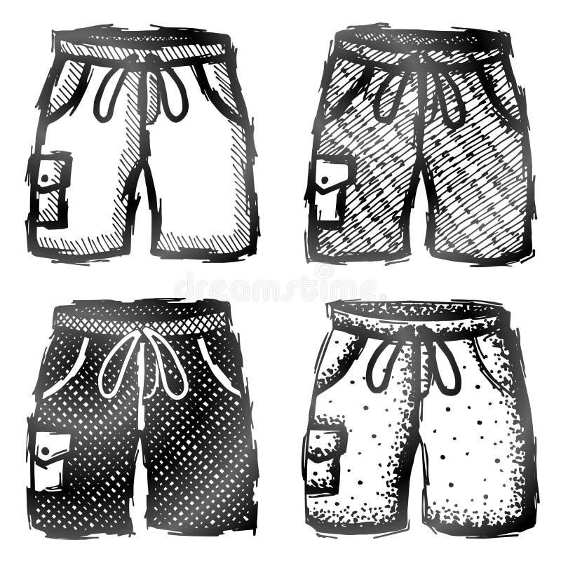 与口袋的手拉的短裤 向量例证