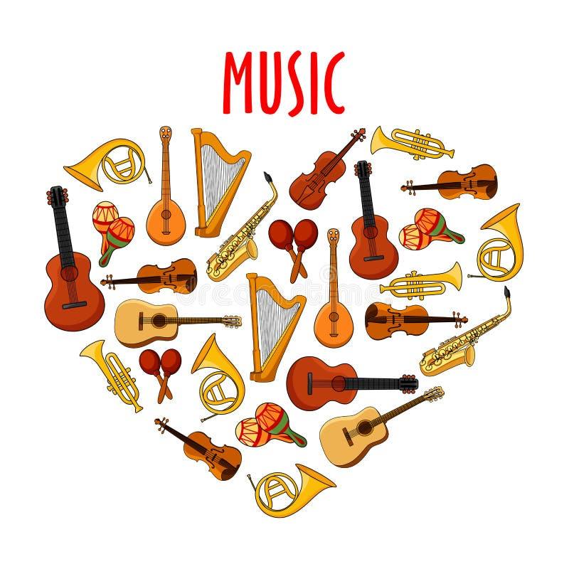 与古典乐器标志的心脏 皇族释放例证