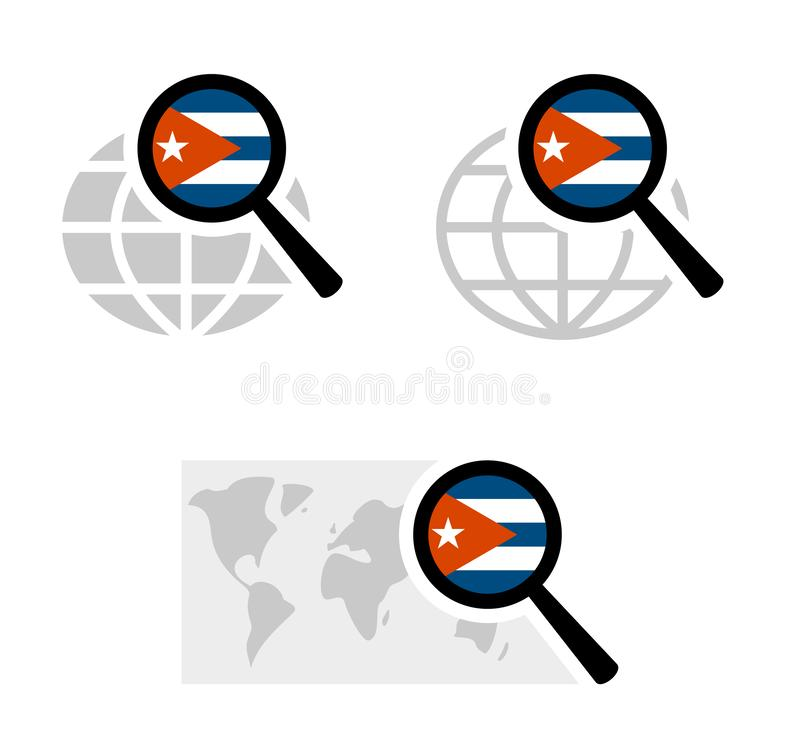 与古巴旗子的查寻象 库存例证