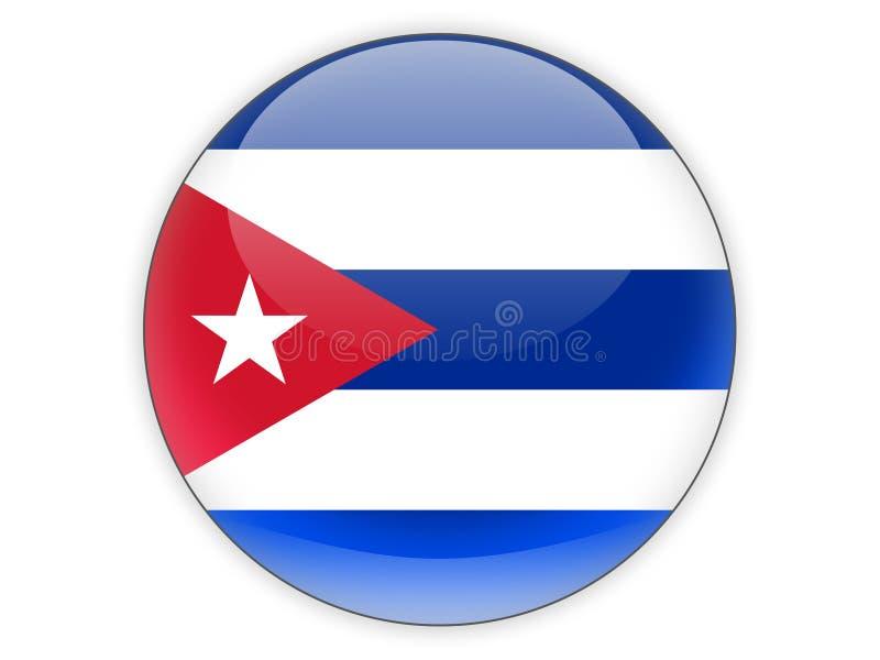 与古巴的旗子的圆的象 库存例证