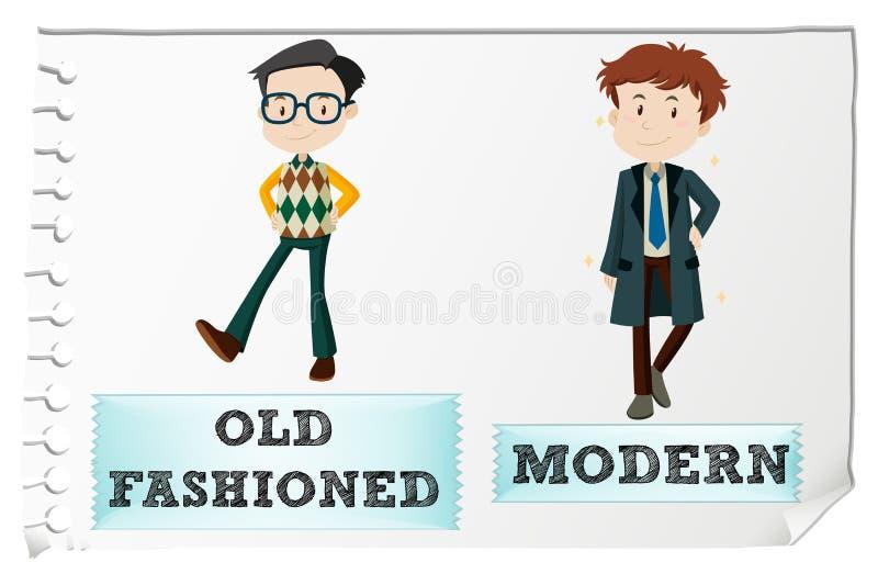 与古板和现代的相反形容词 库存例证