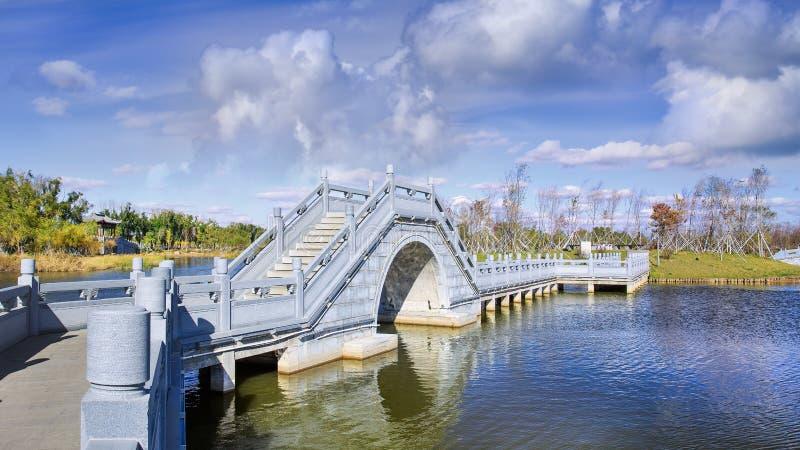 与古老桥梁、池塘和剧烈的云彩的风景在长春强湿地 免版税库存照片