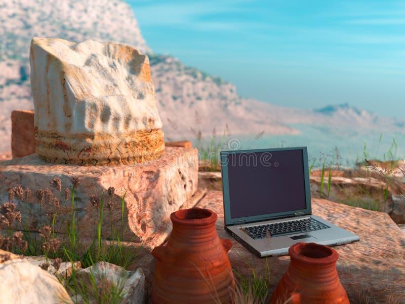 与古色古香的专栏和膝上型计算机的概念性背景 皇族释放例证