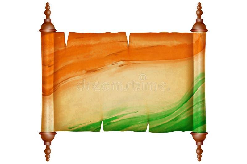 与古色古香的纸的葡萄酒纸卷在印地安旗子 皇族释放例证