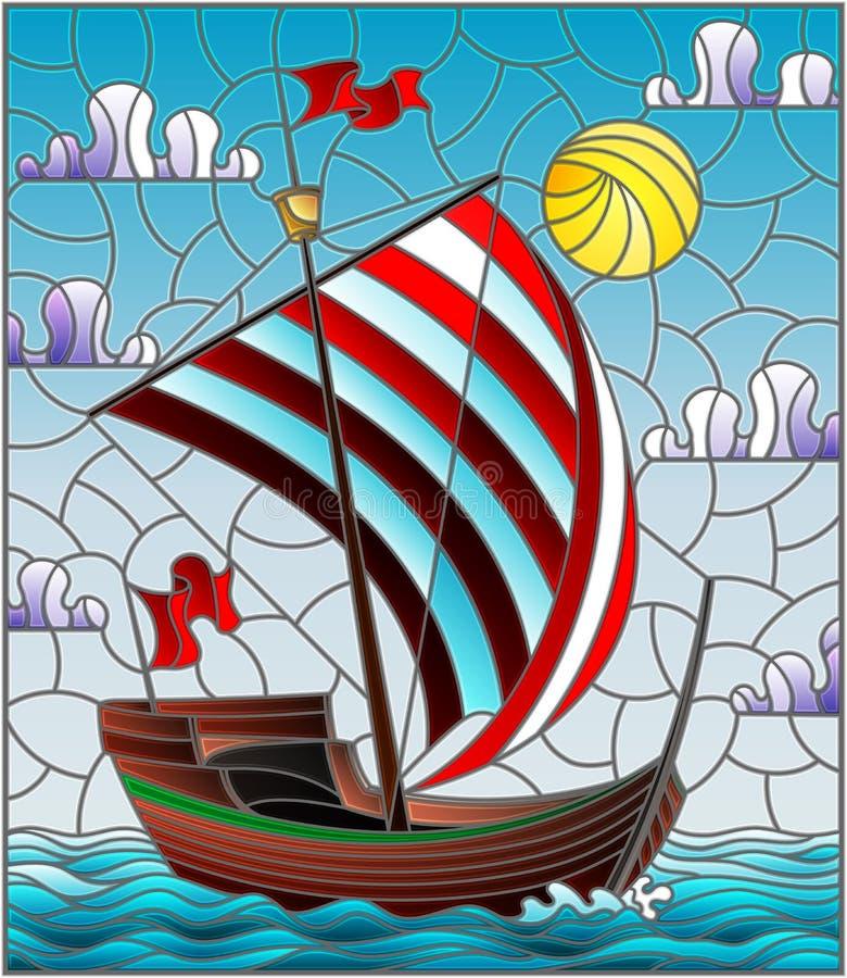 与古色古香的船的彩色玻璃例证有反对海、天空和太阳的一个镶边红色风帆的 库存例证