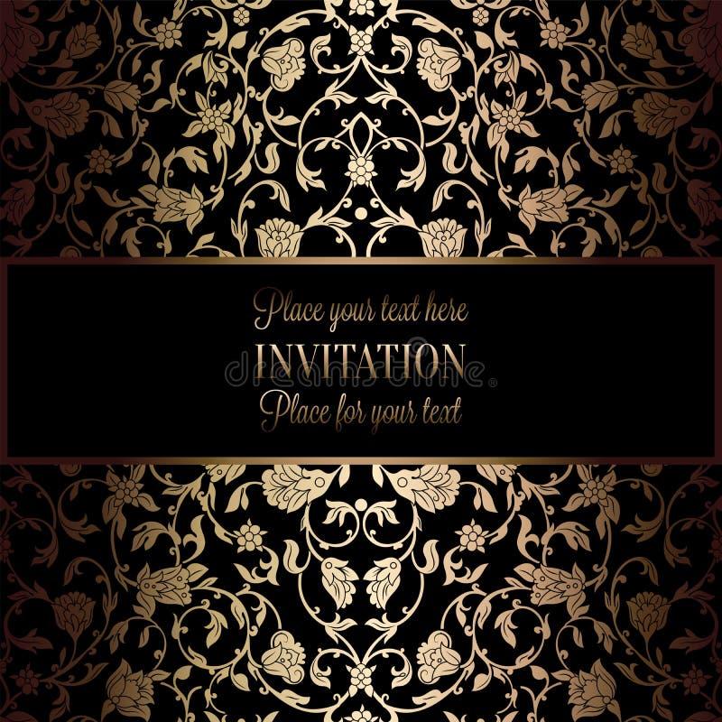 与古董、豪华黑色和金葡萄酒框架,维多利亚女王时代的横幅,锦缎花卉墙纸装饰品的抽象背景 皇族释放例证