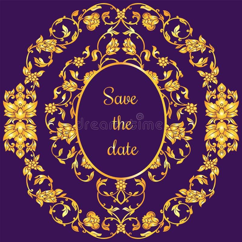 与古董、豪华紫罗兰和金葡萄酒装饰品,维多利亚女王时代的横幅,锦缎巴落克式样的花卉装饰的邀请卡片 皇族释放例证