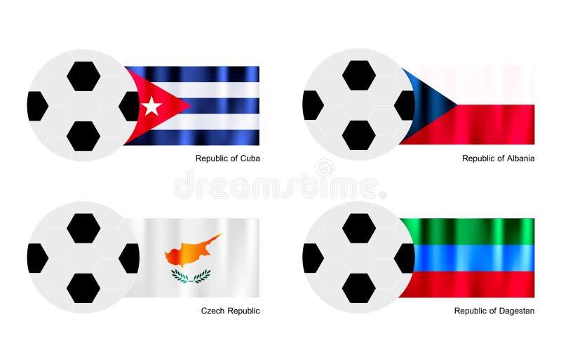 与古巴、阿尔巴尼亚、捷克和达吉斯坦旗子的足球 皇族释放例证