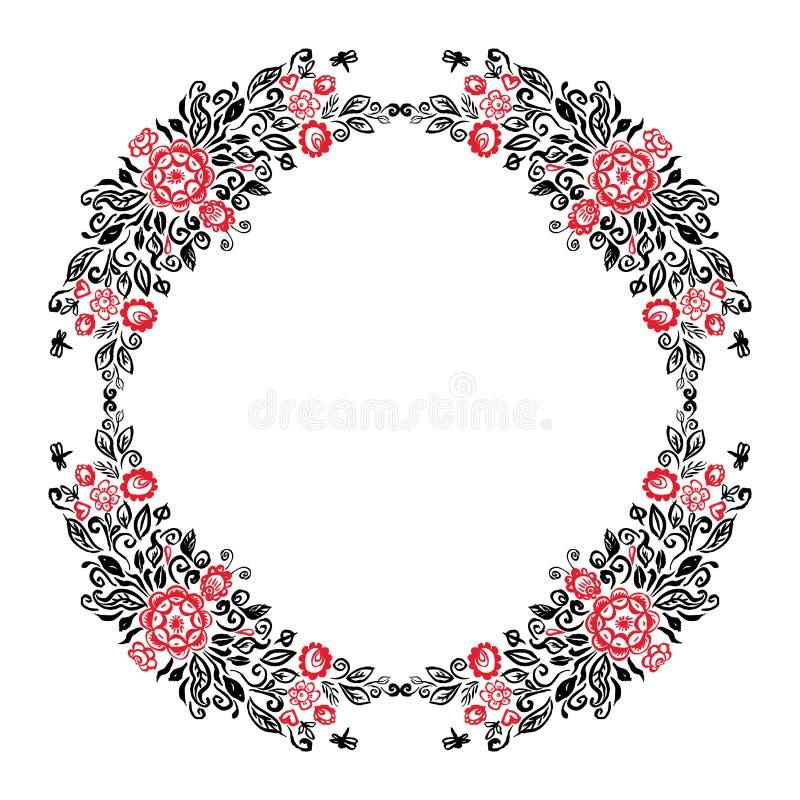 与另外花民间艺术花饰葡萄酒典雅的婚礼邀请红色Bla一个圆的夏天花圈的美丽的卡片  皇族释放例证