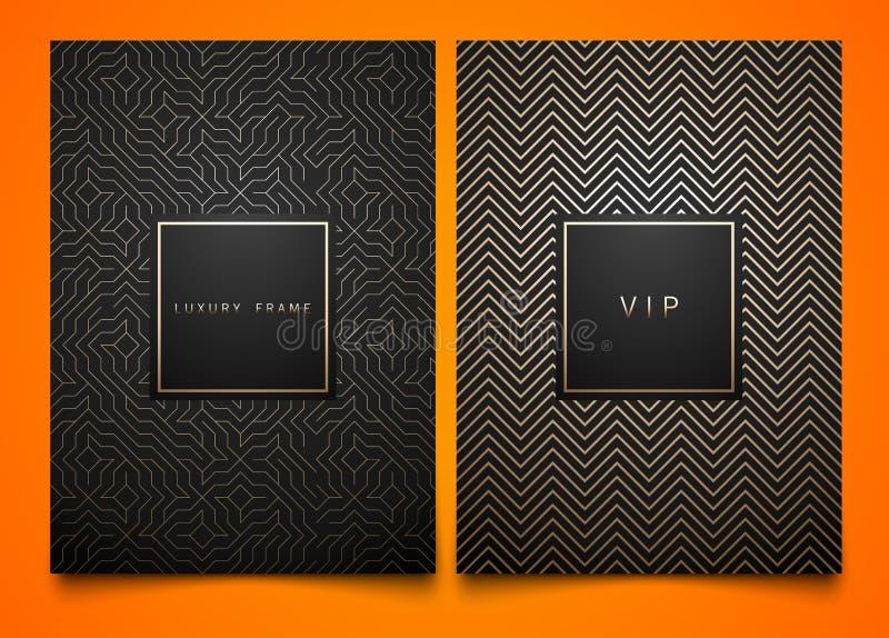 与另外金黄线性几何样式纹理的传染媒介集合黑包装的模板豪华产品的 时髦设计 库存例证