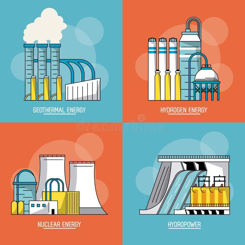 与可再造能源的类型的多彩多姿的部分背景 皇族释放例证