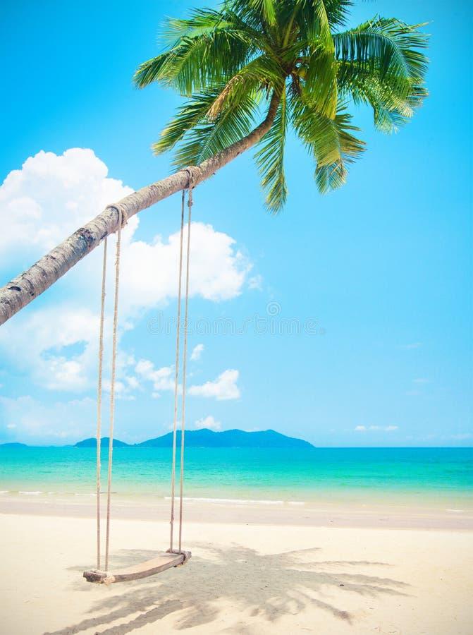 与可可椰子树和摇摆的美丽的热带海岛海滩 免版税库存照片