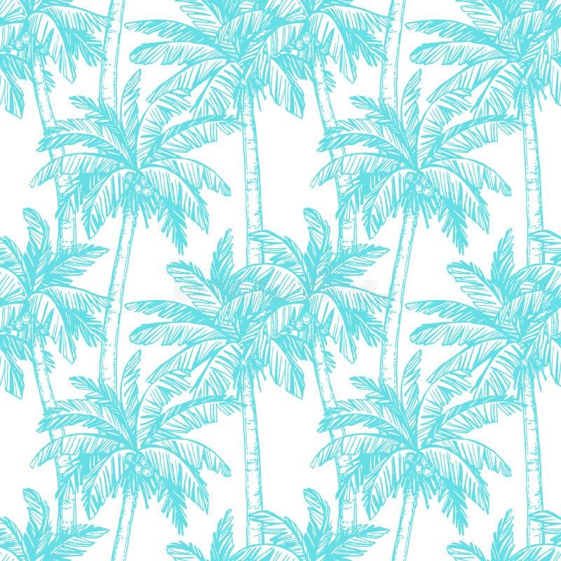 与可可椰子树的无缝的样式 皇族释放例证