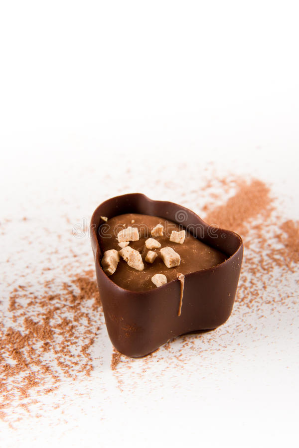 与可可粉的黑暗的巧克力 库存图片