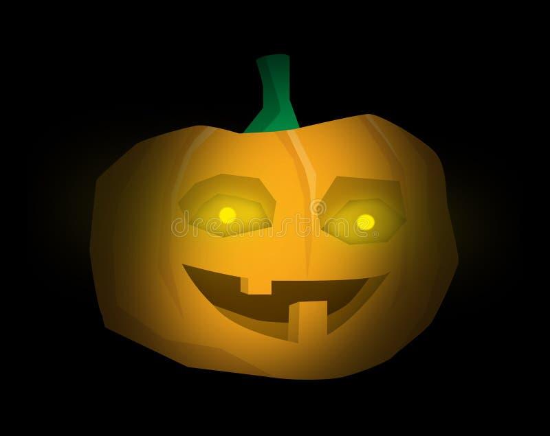 与可怕微笑的一个快乐的万圣节南瓜和发光的黄色眼睛-在黑背景的例证 向量例证