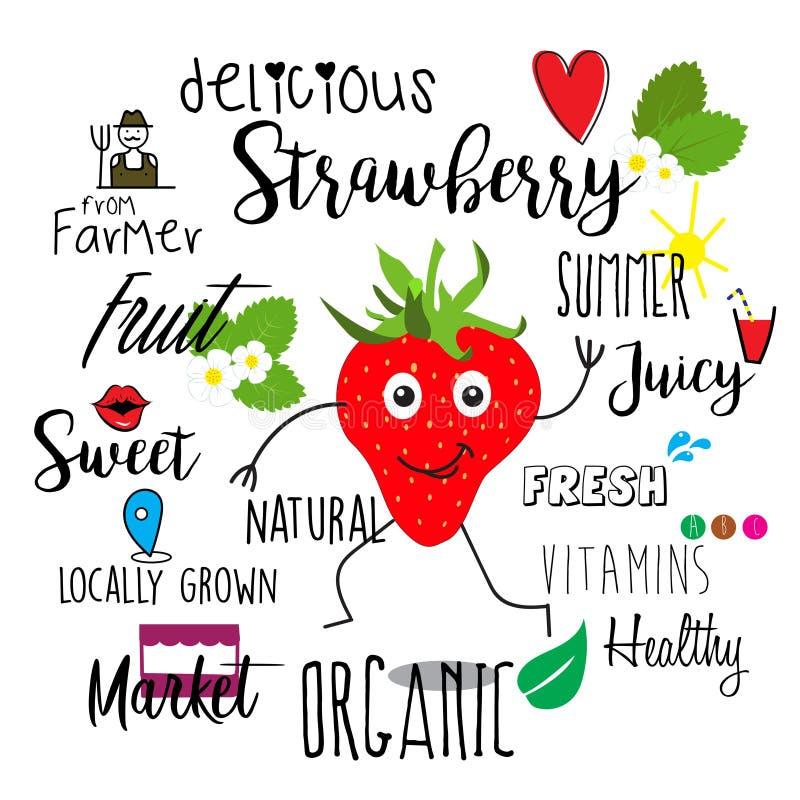 与可持续发展字法的愉快的字符草莓  向量例证