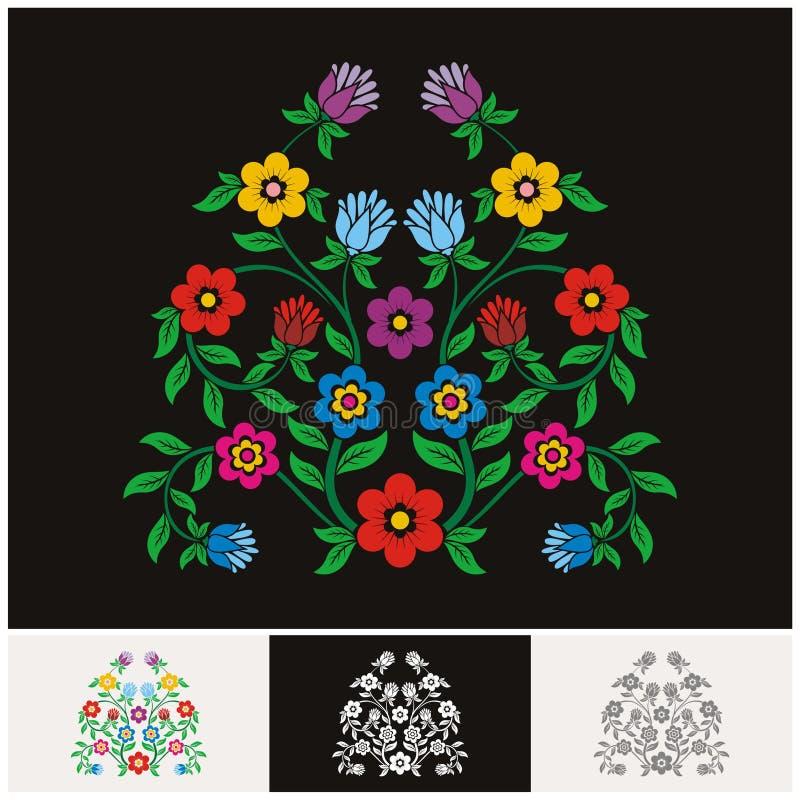 与可爱和可爱的设计的墨西哥种族花卉传染媒介 库存例证