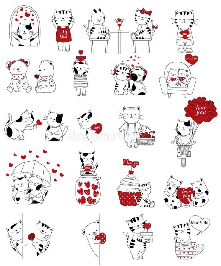 与可爱宝贝猫动画片的情人节背景 向量例证