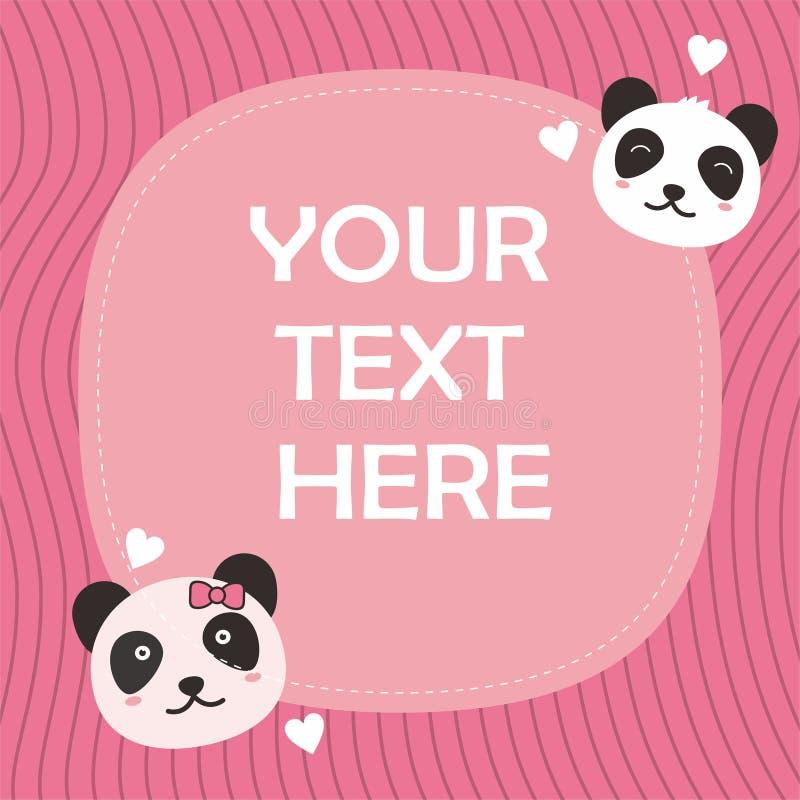 与可爱的熊猫字符的逗人喜爱的桃红色卡片模板 库存例证