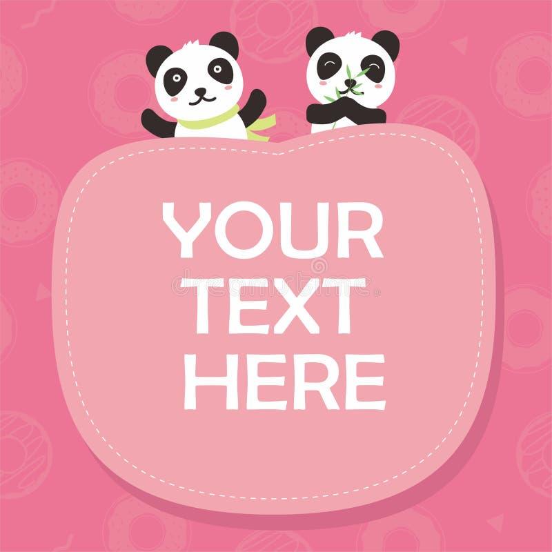 与可爱的熊猫字符的逗人喜爱的桃红色卡片模板 向量例证