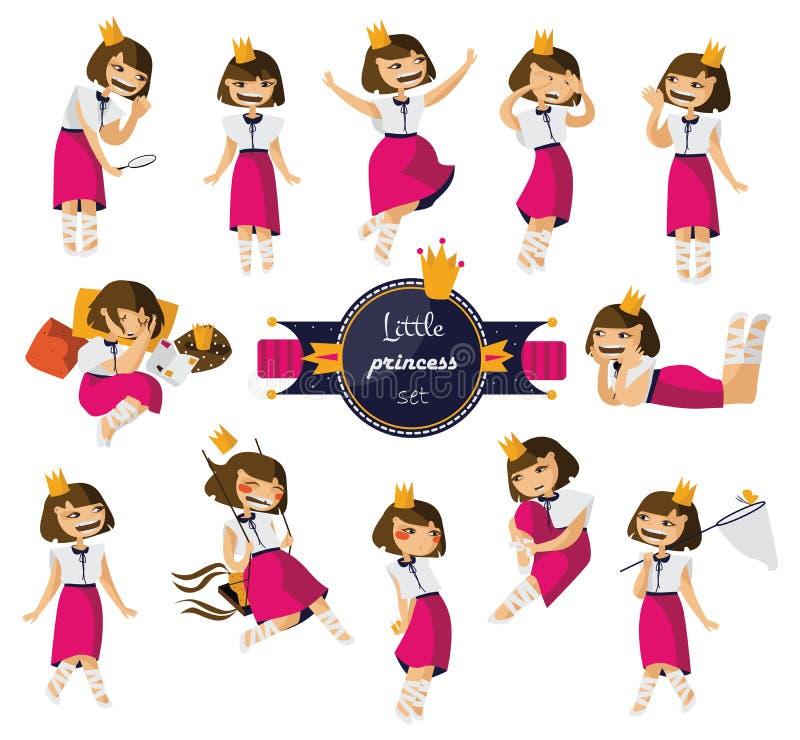与可爱的矮小的逗人喜爱的女孩的传染媒介集合手拉以各种各样的姿势和情况 在桃红色裙子,黏性物质的迷人的深色的字符 向量例证