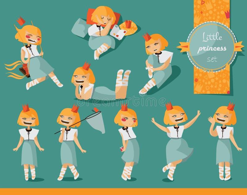 与可爱的矮小的逗人喜爱的女孩的传染媒介集合手拉以各种各样的姿势和情况 迷人的字符,有益于儿童字符d 库存例证