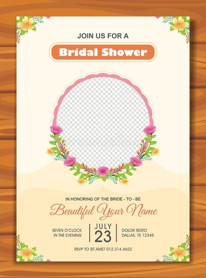 与可爱的设计的新娘阵雨邀请 库存例证