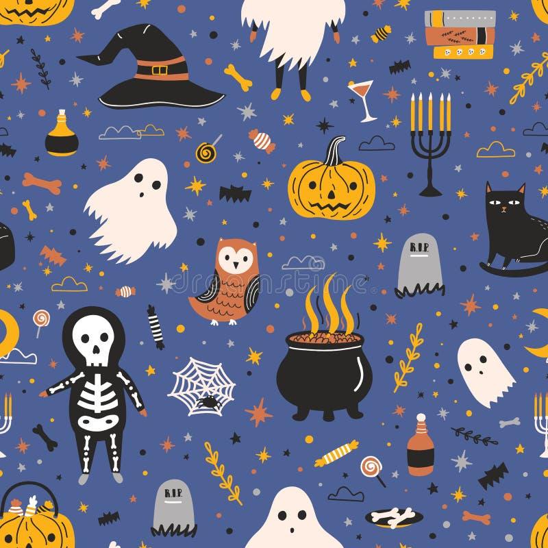 与可爱的鬼的假日生物和项目的万圣节无缝的样式在黑暗的背景-鬼魂,骨骼,杰克o 皇族释放例证