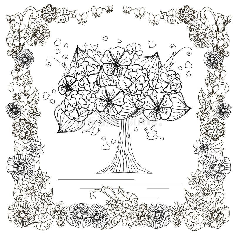 与可爱的鸟,在花卉框架的彩图,反重音的心脏的开花的树 向量例证