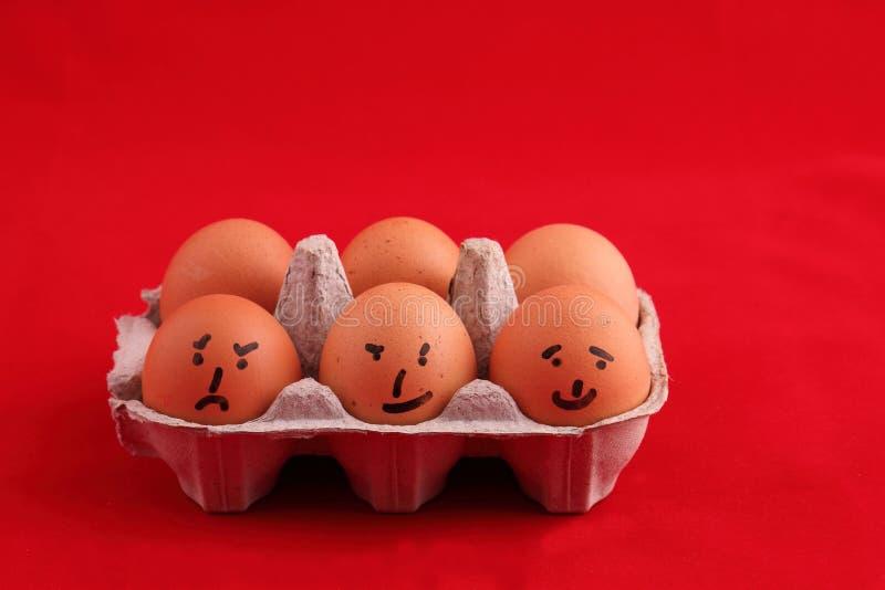 与可笑面孔的鸡蛋 库存图片