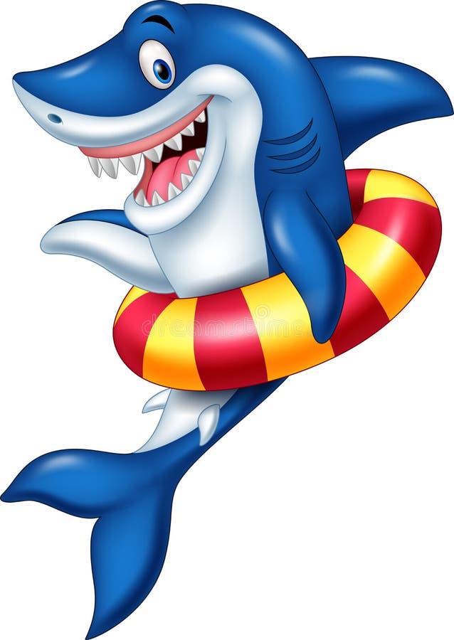 与可膨胀的圆环的动画片鲨鱼 皇族释放例证
