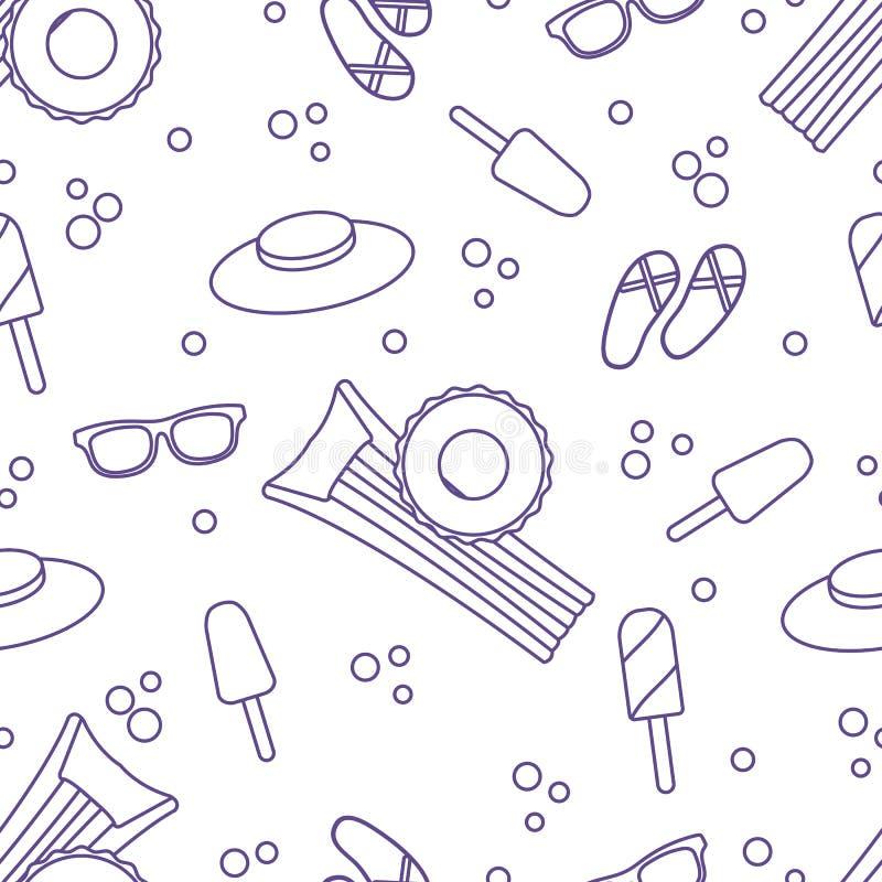 与可膨胀的床垫,可膨胀的圈子,冰淇淋,帽子,玻璃,海滩拖鞋的无缝的样式 夏天休息概念 向量例证