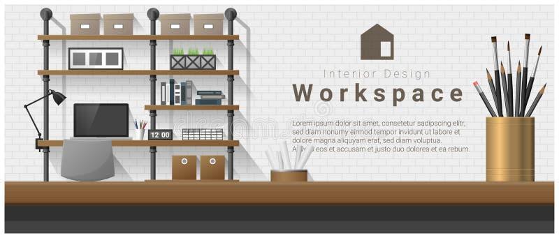 与台式和现代办公室工作场所背景的室内设计 皇族释放例证