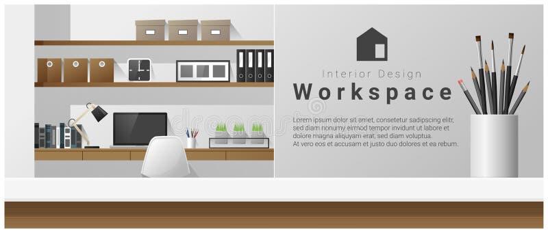 与台式和现代办公室工作场所背景的室内设计 向量例证