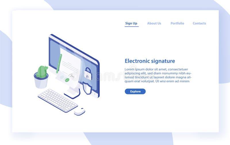 与台式电脑的登陆的页模板,与署名的纸张文件对此,锁和盾 电子署名 皇族释放例证