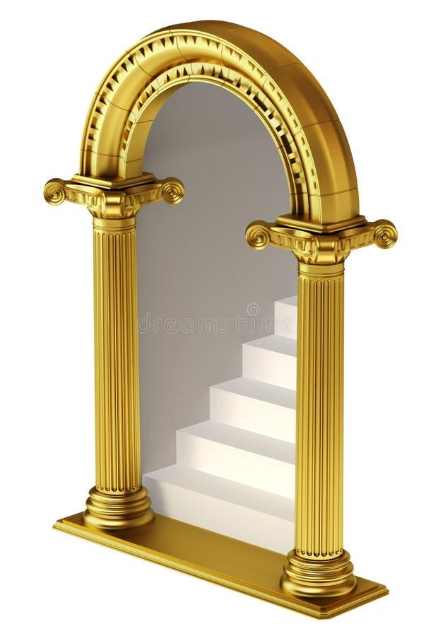 与台阶的黄金双拱 向量例证