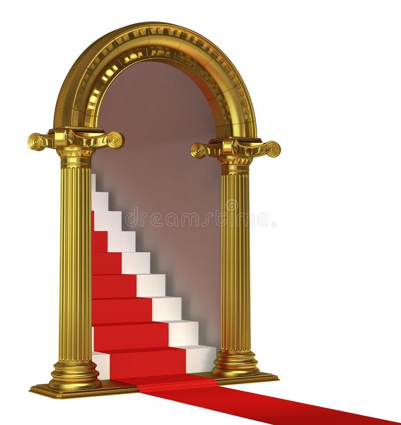与台阶的黄金双拱 皇族释放例证