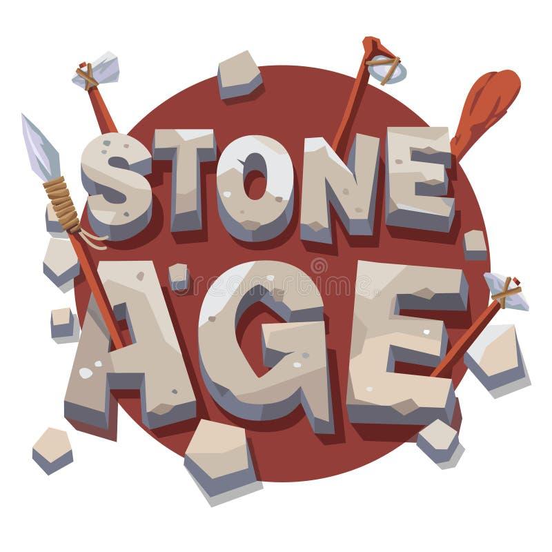 与史前木工具的石器时期文字 皇族释放例证